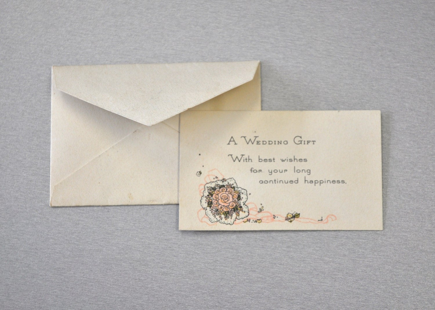 Wedding Gift Card Uk : Tiny Vintage Wedding Gift Card with Envelope