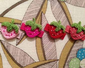 Crochet Strawberry Infant Snap Clips - You Choose One // Fruit Hair Clips