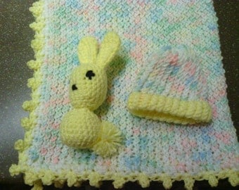 Baby Print Baby Afghan Blanket & matching Bunny toy and Hat, Pastel, cute, warm