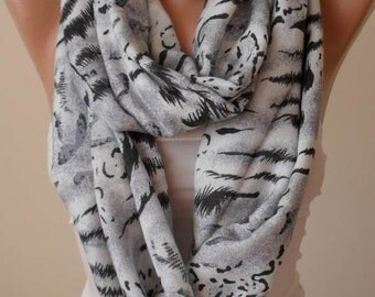 Eternity- Mother's Day Gift Scarf - Gray Infinity Scarf - Soft Cotton Fabric