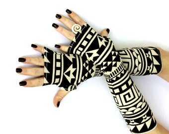 Black  and Off White Tribal Fingerless Gloves -  Arm Warmers , Gloves , Hand Warmers , Cuffs , Victoriian , Urban , Cotton