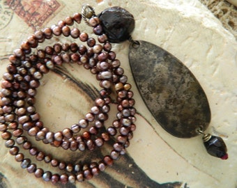 Assemblage Necklace Rustic Fishing Lure Garnet Stones and Fresh Water Pearls