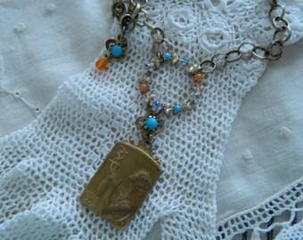 Assemblage Necklace Art Medal Pendant Vintage