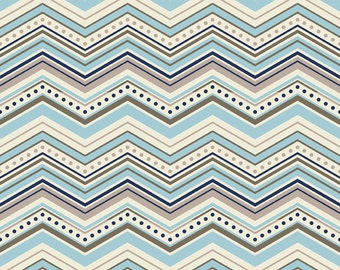 Chevron in Blue: One For The Boys By Zoe Pearn for Riley Blake 1 Yard Cut