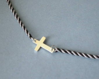 Sideways cross necklace -- sterling silver on kumihimo braid -- dove gray and black