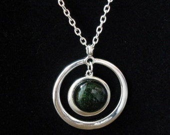 Circle pendant necklace - fused glass center