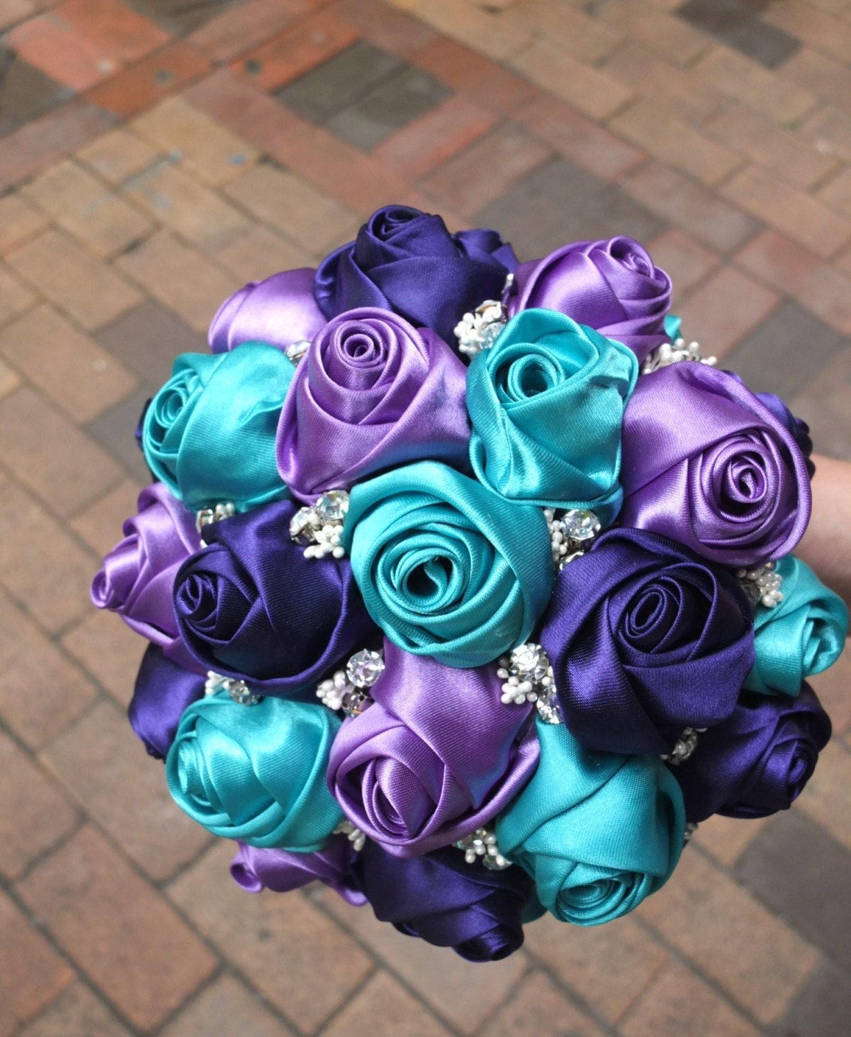 Teal And Purple Wedding Flowers: Fabric Bouquet Peacock Bouquet Satin Rose Bouquet Purple