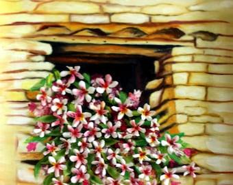 Window, clay flowers, 3D oil painting, home decor, original 18x18