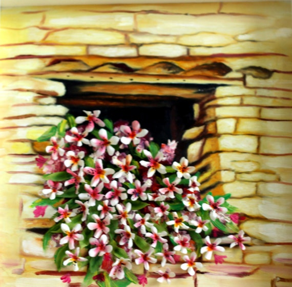 Window, clay flowers, 3D oil painting, home decor, original 18x18