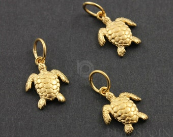 24K Gold Vermeil Over Sterling Silver Sea Turtle Charm / Pendant with Jump Ring, Sea Life Jewelry Component, (VM/CH7/CR27)