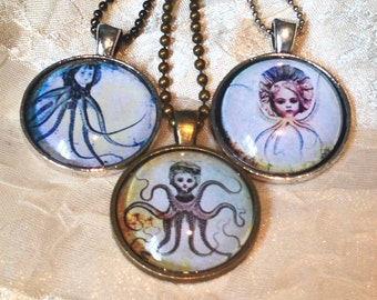 Little Women Octopus Necklaces Steampunk Goth Science Fiction Mutants Undersea Ocean Creatures