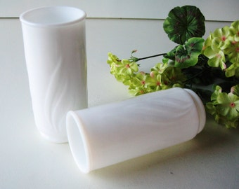 Milk Glass Vase, Organic Flower Vase,  Wedding Decor, Set of Two,