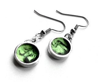 Green Dangle Earrings, Apple Green Jewelry, Stainless Steel Earring Wires, Silver Round Everyday Jewelry