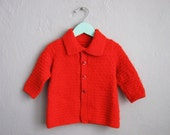 1960s Vintage Baby Sweater Red Jacket Hand Knit Long Sleeve / 18 24 Months