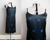 1960s Vintage Dress Peacock Blue Black 60s Cocktail Dress Scalloped Hem / Medium