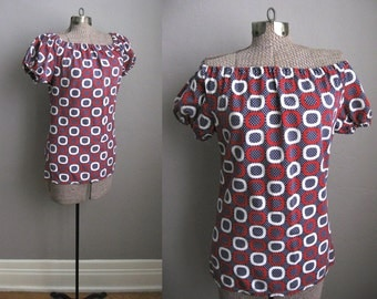 ON HOLD - 1960s Vintage Blouse Mod Print Cotton 60s Top Tunic Red White Blue Size Medium