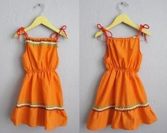 Southwestern 70s Sundress Orange Cotton Girls Dress Full Skirt Adjustable Straps