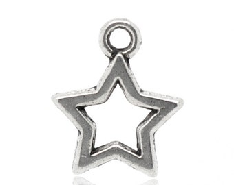 10 Pieces Cute Antique Silver Star Charms