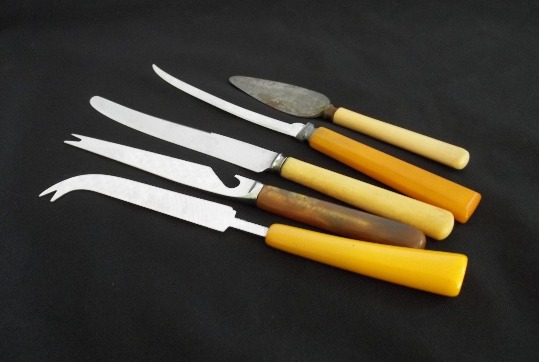 Vintage Set 5 Bakelite Serving Cheese Knives Cheese Knife