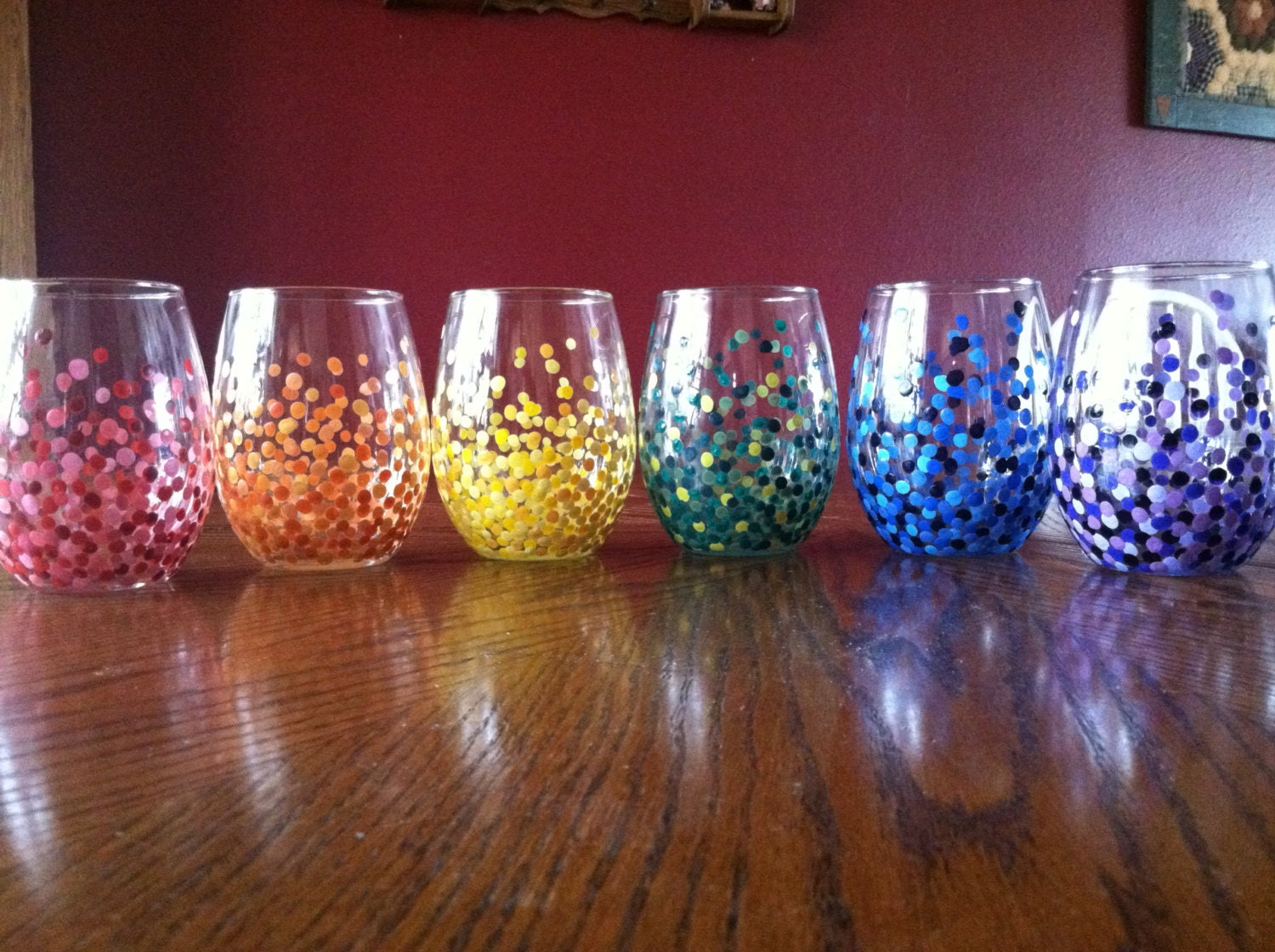 4 hand painted stemless wineglasses for Painted stemless wine glasses