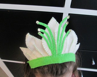 Tiana frog princess felt crown inspired for costume, tiana games, the disney, a princess crown, princess dress up
