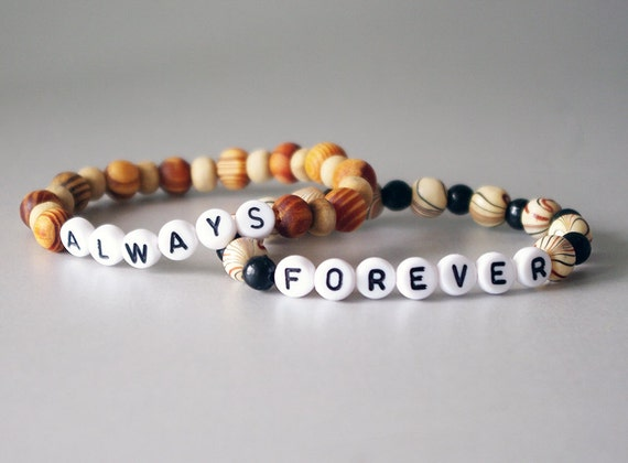 Always & Forever Bracelets, For Him and Her, Loving Couple Bracelets, Wooden, Personalized Jewelry by NadiaBo