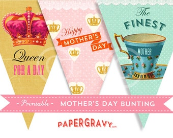 Printable Vintage Mother's Day BUNTING  INSTANT DOWNLOAD