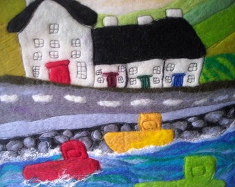 wet felted picture, fiber wall art, textile art