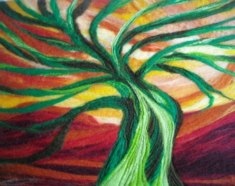 wet felted abstract tree, fiber wall art