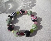 """polymer clay  Beaded Bracelet ,  """"Le Jardin"""" collection"""