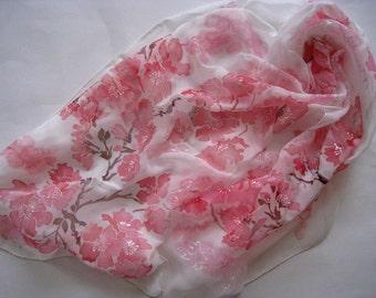 Hand Painted Silk Scarf  Flowering Sakura