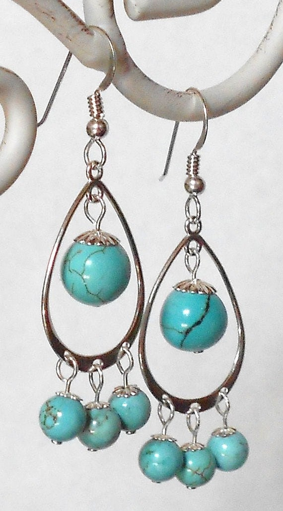 items similar to sterling silver howlite tear drop dangle
