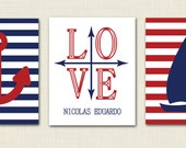 Set of three 11 x 14 nautical prints- nautical theme nursery - sailboat- anchor print- personalized compass print- navy and red- boat theme