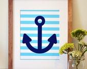 Nautical nursery 11x14 wall art- navy and light blue anchor print- nautical boy room print- nautical theme