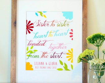 Gift for sister 11x14 Sister to sister heart to heart Sister quote Sister best friend gift Sister art Sister print Gift for sisters Sorority