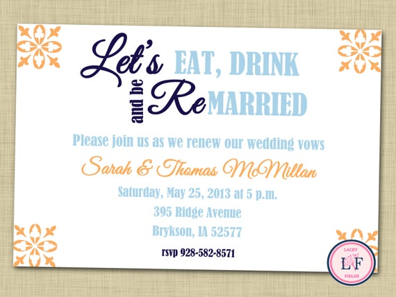 Items Similar To Vow Renewal Invitation Printable Vow