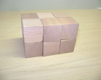 "12 Wooden Cubes - 1.2"" - 3cm Unfinished Wooden Cubes"