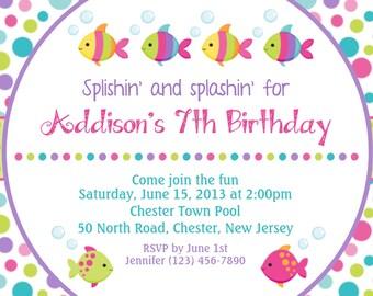 Fishy Fishy Girl Invitation - Personalized Custom Underwater Fish Birthday Invitation - Print Your Own