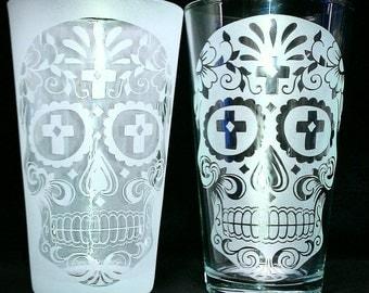 Sugar Skull Cross Drinking Glass