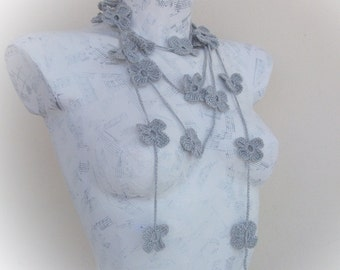 Gray Crochet Floral Lariat neck accessories-Spring Scarf - Spring Fashion - Crochet Scarf -Crochet Scarf