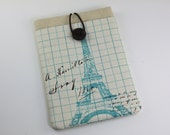 Kindle Case Sleeve Cover for 'Kindle,Ipad,Samsung,Nook,Kobo,Nexus,other eReader' with front Pocket - Envelope with Eiffel Tower(A)