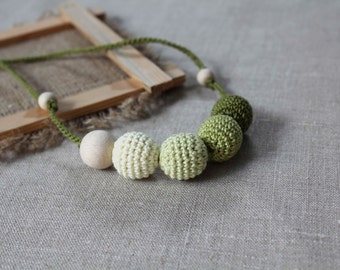 Olive Green Nursing necklace  - Teething necklace with crochet beads - Nursing Breastfeeding Mommy