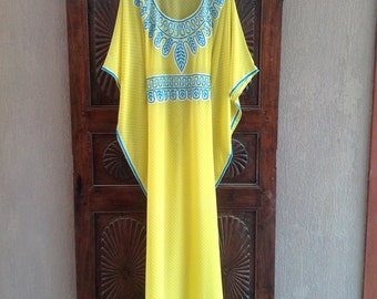 Kaftan: chiffon long yellow sheer caftan dress