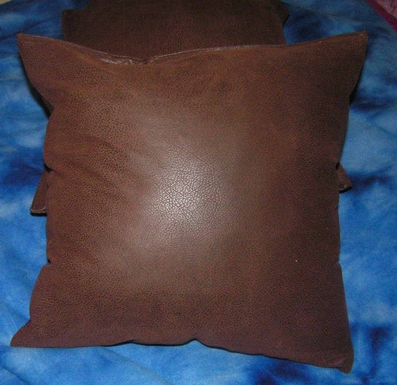 Items similar to 2 brown faux leather throw pillow covers /pillow insert not included size 16 x ...