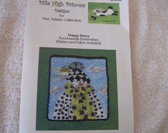Christmas Punchneedle Embroidery Pattern for Happy Harry by Mile High Princess