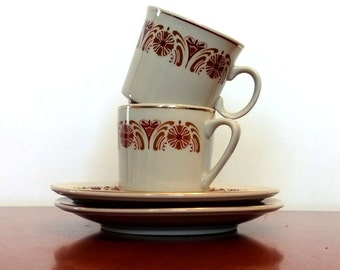 Vintage Espresso Cups, Set Of Two China Espresso Cups and Saucers, Gray, Red, Gold