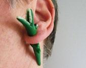 Crocks Fake gauge earrings/ cute little polymer clay animal through the ear/ two parts/ steel plugs