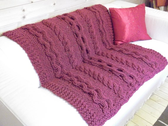 Chunky Knit Throw Pattern : Eternal Chunky Cable Blanket / Throw Knitting by DaisyGrayKnits