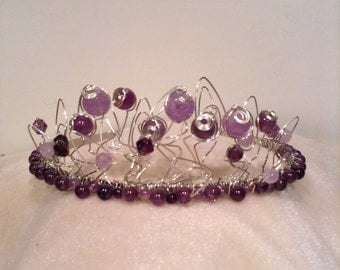 Amethyst tiara with stunning wired detailing Handmade wedding jewellery