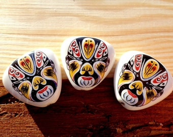 Porcelain Triangle Beads, Chinese Mask 25 mm Bead, supplies